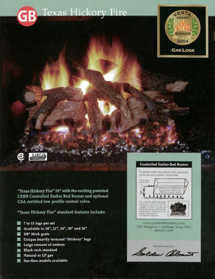 Fabulous Golden Blount Texas Hickory Fire Vented Gas Log Set Download Free Architecture Designs Salvmadebymaigaardcom