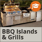 Outdoor kitchen with a stainless steel grill full of food at nighttime