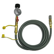 grey gas hose with brass ends