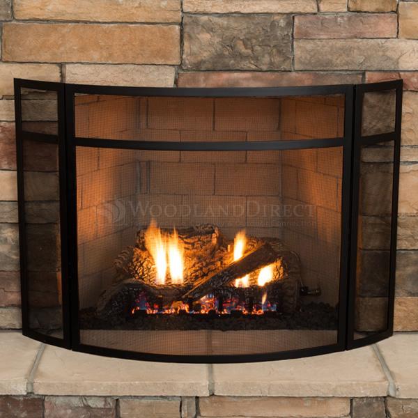 3 Panel Fireplace Screen With Black Finish Woodlanddirect Com