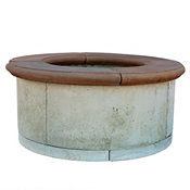 masonry stone fire pit ring with burning wood