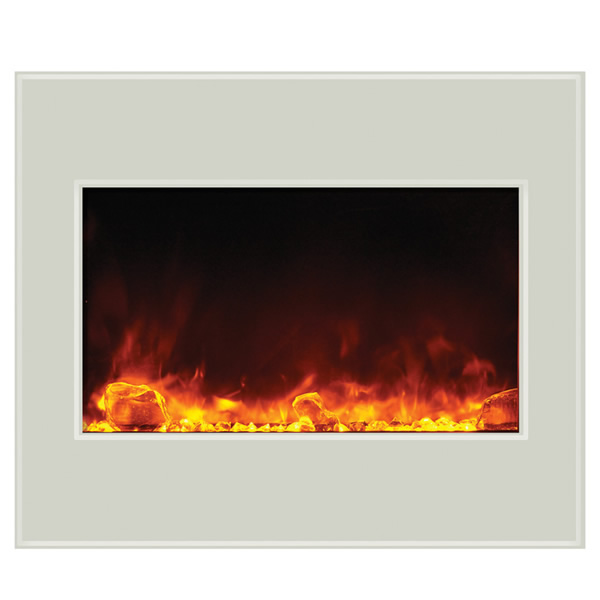 Amantii 30 Zero Clearance Electric Fireplace White Glass