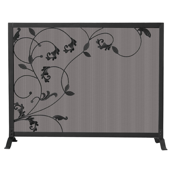 Black Single Panel Wrought Iron Fireplace Screen With Leaves 39 X 31
