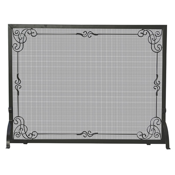 bb99a3ed587 Black Single Panel Wrought Iron Scrollwork Fireplace Screen - 44