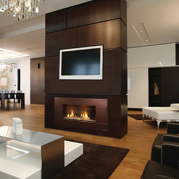 Escea ST900 Indoor Gas Fireplace with Bronze Florentine Fascia ...