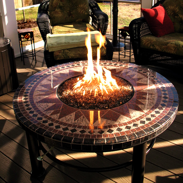 Mosaic Round Gas Fire Pit Table - 45