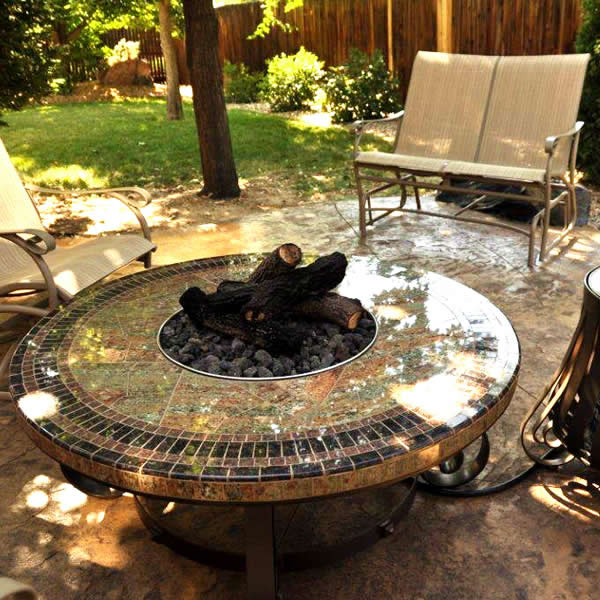 Mosaic Round Gas Fire Pit Table 45 Signature Living