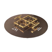 brass fire pit burner on a round steel plate