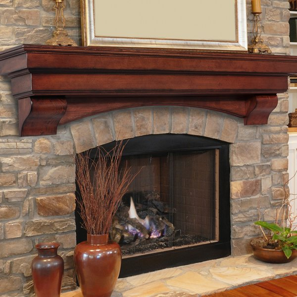 Pearl Auburn Cherry Distressed Fireplace Mantel Shelf