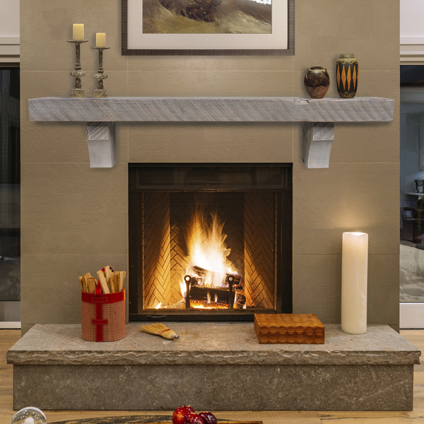 Pearl Reclaimed Pine Driftwood Fireplace Mantel Shelf Pearl