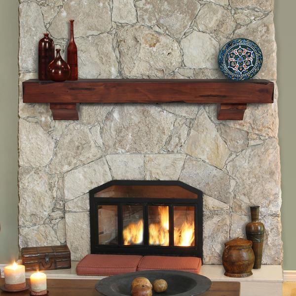 Pearl Shenandoah Cherry Rustic Fireplace Mantel Shelf Woodland Direct