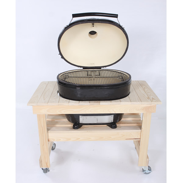 Primo Compact Cypress Table For Oval Xl Kamado Grill