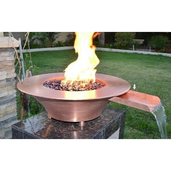 36 X 12 Copper Fire Water Bowl With Electronic Ignition