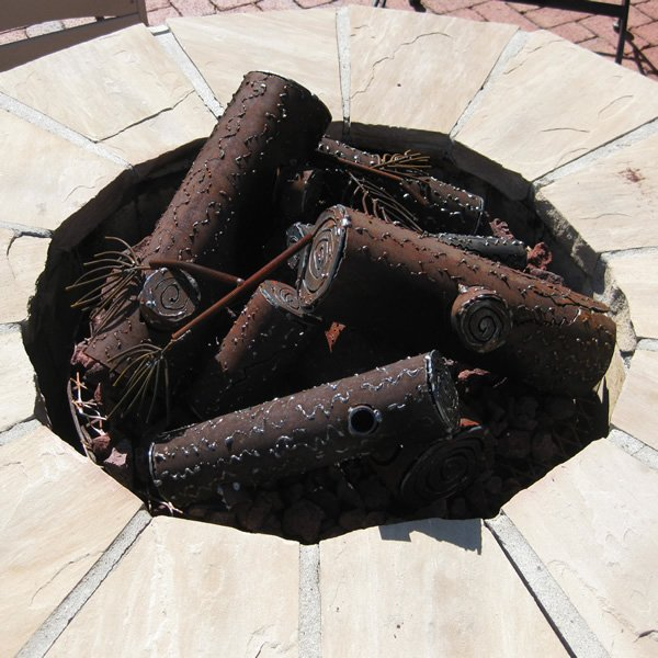 Classic Collapsed Steel Fire Pit Gas Logs - Custom | WoodlandDirect.com: Log  Sets - Gas, TimberCraft Metal Art - Classic Collapsed Steel Fire Pit Gas Logs - Custom WoodlandDirect